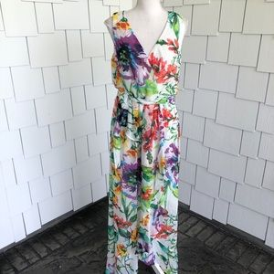 SLNY Sleeveless Floral Surplice Maxi Dress